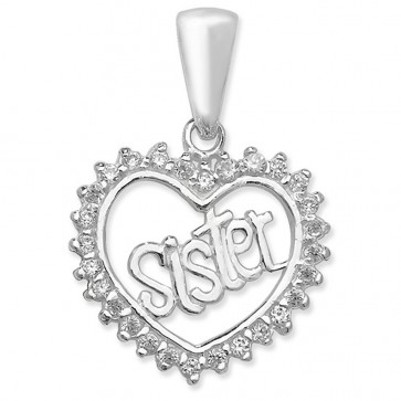 Sterling Silver Cubic Zirconia Sister Heart Pendant