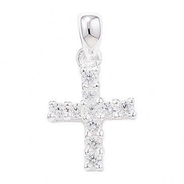 Men's Sterling Silver Cubic Zirconia Small Cross Pendant On A Black Leather Cord Necklace