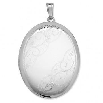 Sterling Silver Swirl Corner Pattern Oval Locket On A Snake Necklace