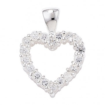 Sterling Silver Claw Set Cubic Zirconia Heart Pendant On A Snake Necklace