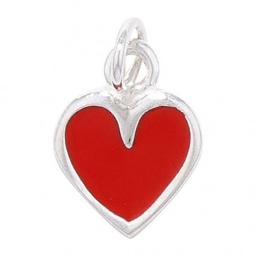Children's Sterling Silver Red Love Heart Pendant On A Curb Necklace