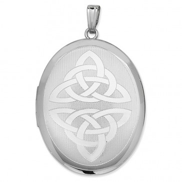Men's Sterling Silver Celtic Oval Locket On A Black Leather Cord Necklace
