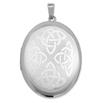 Children's Sterling Silver Celtic Oval Locket On A Curb Necklace