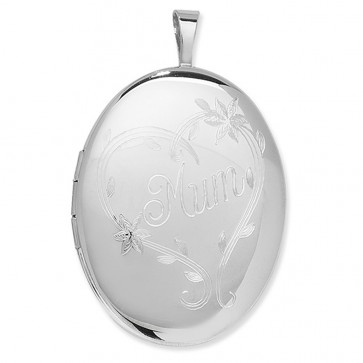 Sterling Silver Engraved Mum Oval Locket On A Snake Necklace