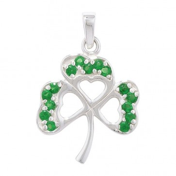 Sterling Silver Green Cubic Zirconia Shamrock Pendant On A Snake Necklace