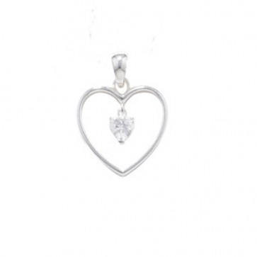Children's Sterling Silver Cubic Zirconia Heart Drop Pendant On A Curb Necklace