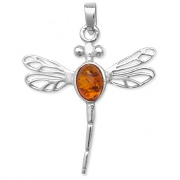 Children's Sterling Silver Amber Dragonfly Pendant On A Curb Necklace