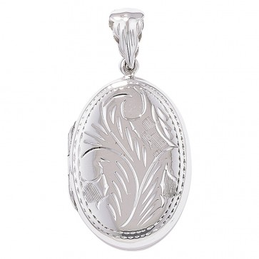 Men's Sterling Silver Engraved Oval Locket On A Black Leather Cord Necklace