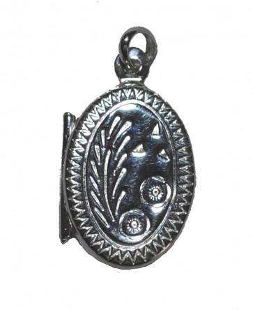 Children's Sterling Silver Engraved Oval Locket On A Curb Necklace