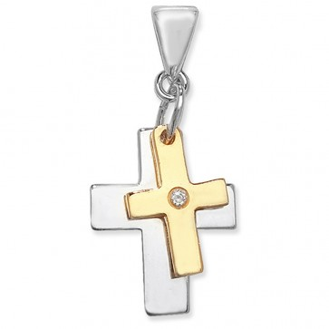 Sterling Silver & Gold Plated Double Cross With Cubic Zirconia Pendant