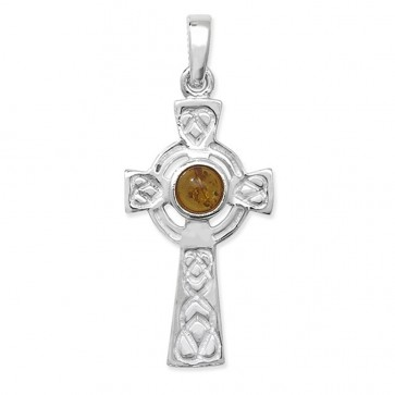 Sterling Silver Amber Celtic Cross Pendant On A Snake Necklace