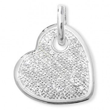Sterling Silver Cubic Zirconia Encrusted Heart Pendant On A Snake Necklace