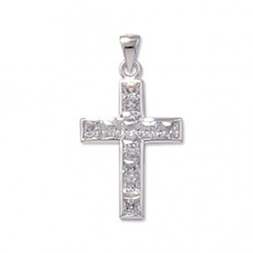 Sterling Silver Rubover Cubic Zirconia Cross Pendant On A Snake Necklace
