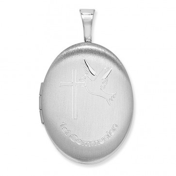 Sterling Silver 1st Communion Oval Locket On A Snake Necklace