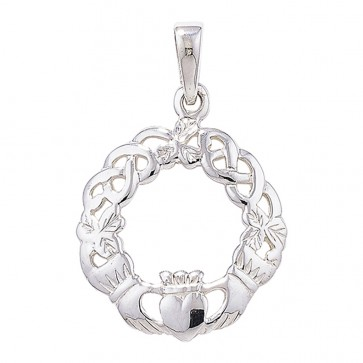 Children's Sterling Silver Celtic Claddagh Pendant On A Curb Necklace