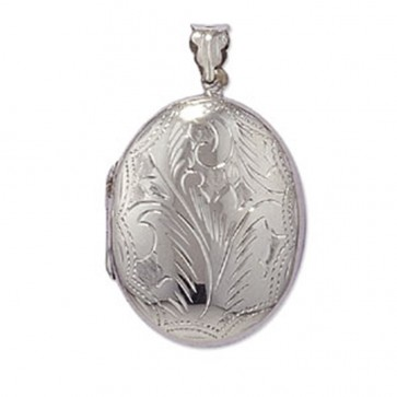 Men's Sterling Silver Large Engraved Oval Locket On A Black Leather Cord Necklace