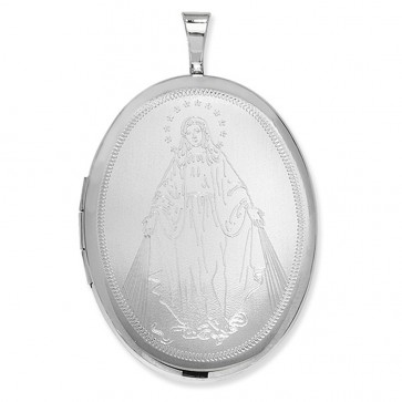 Children's Sterling Silver Our Lady Oval Locket On A Curb Necklace