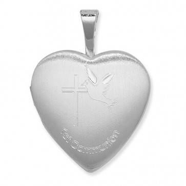 Children's Sterling Silver 1st Communion Heart Locket On A Curb Necklace