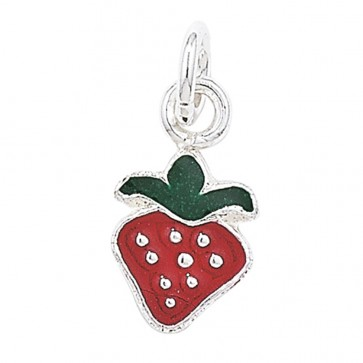 Children's Sterling Silver Red Strawberry Pendant On A Curb Necklace