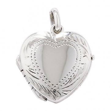 Men's Sterling Silver 3 Way Engraved Heart Locket On A Black Leather Cord Necklace