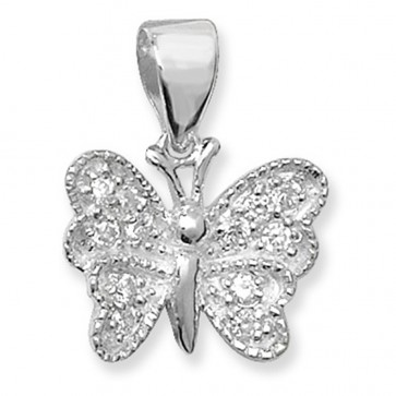 Sterling Silver Fancy Cubic Zirconia Butterfly Pendant On A Snake Necklace