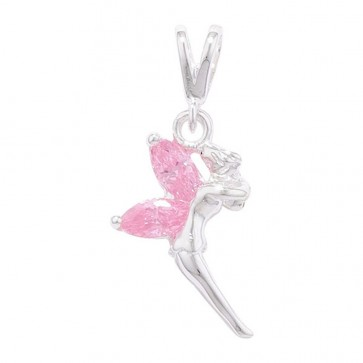 Sterling Silver Pink Cubic Zirconia Fairy Necklace
