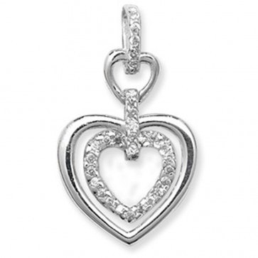 Sterling Silver Cubic Zirconia Double Heart Pendant