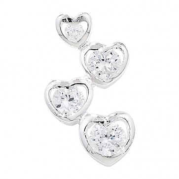 Children's Sterling Silver Cubic Zirconia Graduated Heart Pendant On A Curb Necklace