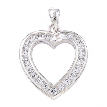 Sterling Silver Cubic Zirconia Heart Pendant On A Snake Necklace