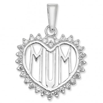 Sterling Silver Cubic Zirconia Mum Heart Pendant On A Snake Necklace