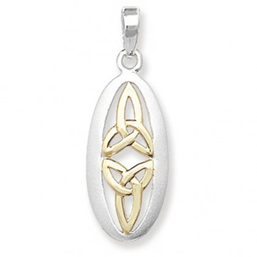 Sterling Silver & Gold Plated Oval Celtic Pendant On A Snake Necklace