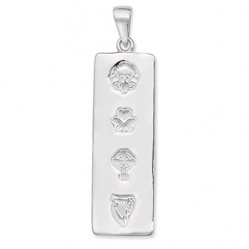 Children's Sterling Silver Oblong Celtic Claddagh Pendant On A Curb Necklace