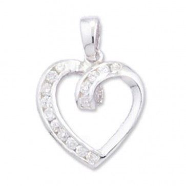 Children's Sterling Silver Cubic Zirconia Fancy Heart Pendant On A Curb Necklace