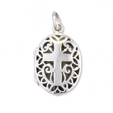 Children's Sterling Silver Cross Oval Locket On A Curb Necklace