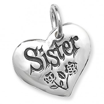 Children's Sterling Silver Sister Heart Pendant On A Curb Necklace