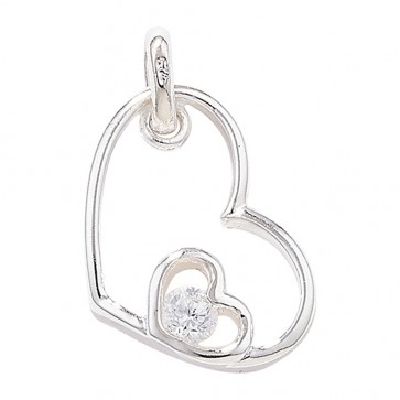 Sterling Silver Double Heart With Cubic Zirconia Pendant
