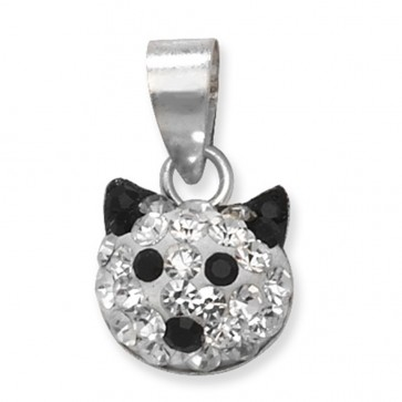 Sterling Silver Black & Clear Crystal Cat Face Pendant On A Snake Necklace