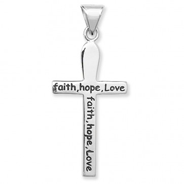 Children's Sterling Silver Faith Hope Love Cross Pendant On A Curb Necklace