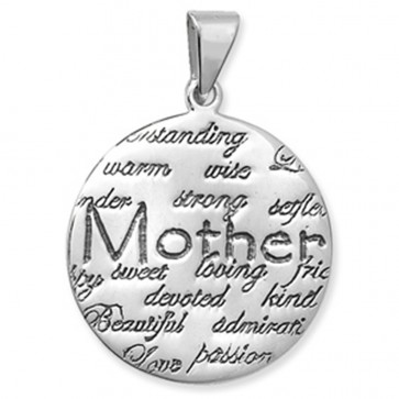 Sterling Silver Round Mother Pendant On A Snake Necklace