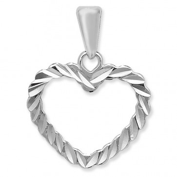 Men's Sterling Silver Diamond Cut Open Heart Pendant On A Black Leather Cord Necklace
