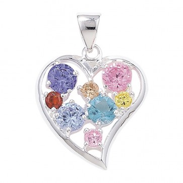 Sterling Silver Multi Colour Cubic Zirconia Heart Pendant On A Snake Necklace