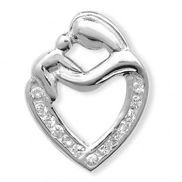 Sterling Silver Cubic Zirconia Mother & Child Heart Pendant On A Snake Necklace