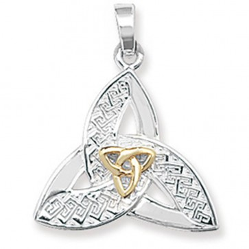 Children's Sterling Silver & Gold Plated Celtic Pendant On A Curb Necklace