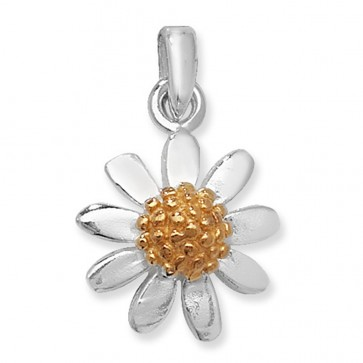 Sterling Silver & Gold Plated Daisy Flower Pendant