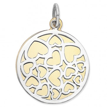 Sterling Silver & Gold Plated Cut Out Heart Double Disc Pendant On A Snake Necklace