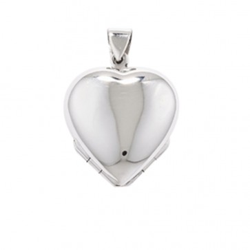 Men's Sterling Silver Plain Family Heart Locket On A Black Leather Cord Necklace