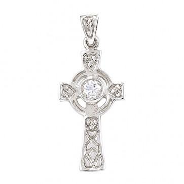 Sterling Silver Cubic Zirconia Celtic Cross Pendant