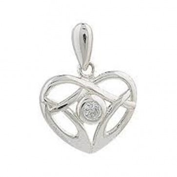 Sterling Silver Cubic Zirconia Celtic Heart Pendant On A Snake Necklace