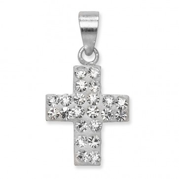 Children's Sterling Silver Clear Crystal Cross Pendant On A Curb Necklace
