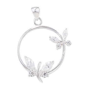Sterling Silver Cubic Zirconia Circle With Butterfly Pendant On A Snake Necklace